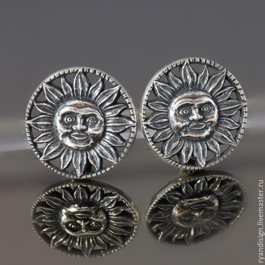 `Солнце`, серьги из серебра, английский замок