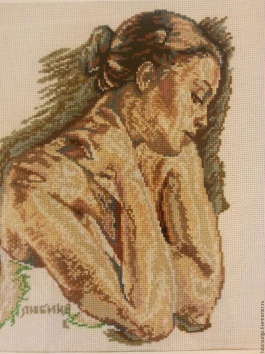 """Люди, ручной работы. Ярмарка Мастеров - ручная работа. Купить Картина выполнена в технике счетный крест""""Девушка"""". Handmade. Бежевый, люди"""