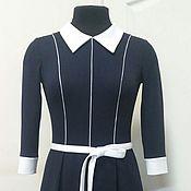 Одежда ручной работы. Ярмарка Мастеров - ручная работа 095:черно-белое платье из джерси, черное платье с белым воротником. Handmade.