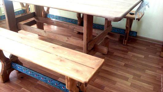 Кухня ручной работы. Ярмарка Мастеров - ручная работа. Купить Деревянный стол и 2 лавки с ручной росписью. Handmade. Бирюзовый