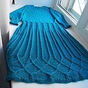 Одежда ручной работы. Ярмарка Мастеров - ручная работа платье бирюзовое вязаное спицами. Handmade.