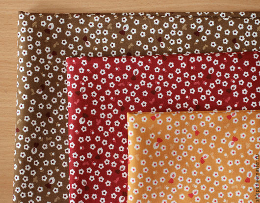Шитье ручной работы. Ярмарка Мастеров - ручная работа. Купить Ткань для пэчворка Ромашки. Handmade. Красный, ткань для пэчворка