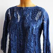 Одежда ручной работы. Ярмарка Мастеров - ручная работа Валяная блузка Индиго. Handmade.