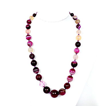 Decorations handmade. Livemaster - original item Necklace / beads made of natural fuchsia agate. Handmade.