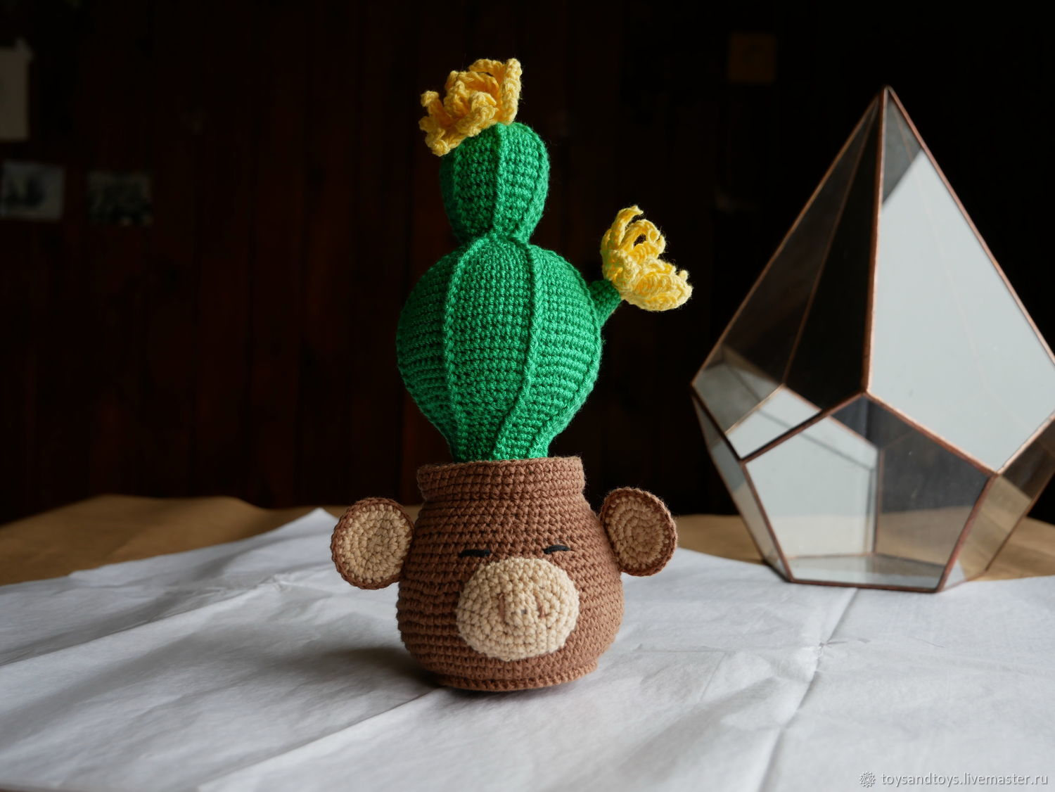 Nursery handmade. Livemaster - handmade. Buy Cactus in pot with a monkey. Blooms all year round.Crochet