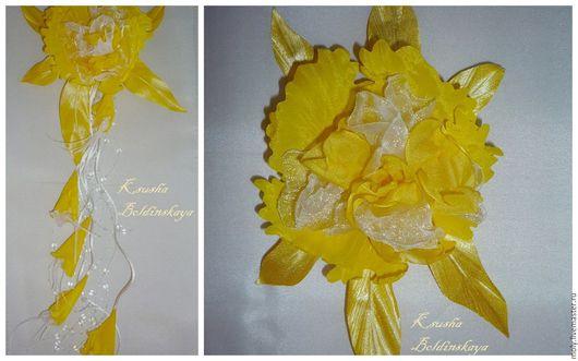 Броши ручной работы. Ярмарка Мастеров - ручная работа. Купить комплект орхидея. Handmade. Желтый, украшение для волос