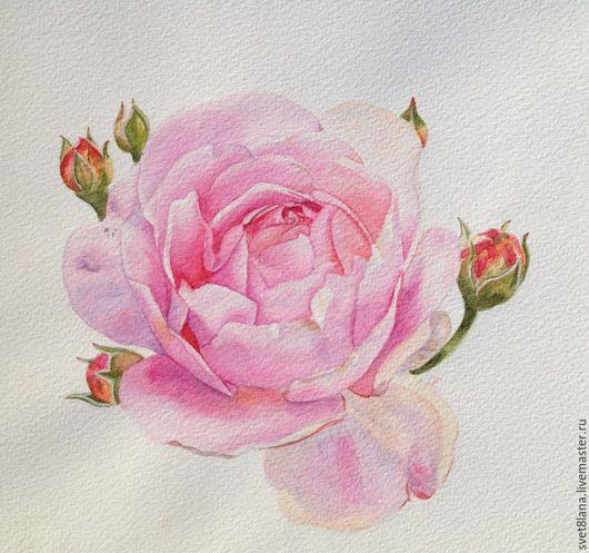 Картины цветов ручной работы. Ярмарка Мастеров - ручная работа. Купить Роза розовая. Handmade. Комбинированный, розовый, розовый цвет