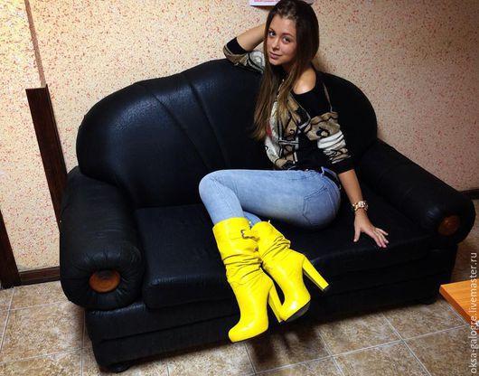 Обувь ручной работы. Ярмарка Мастеров - ручная работа. Купить сапоги зима. Handmade. Желтый, сапоги зимние, лимонный цвет