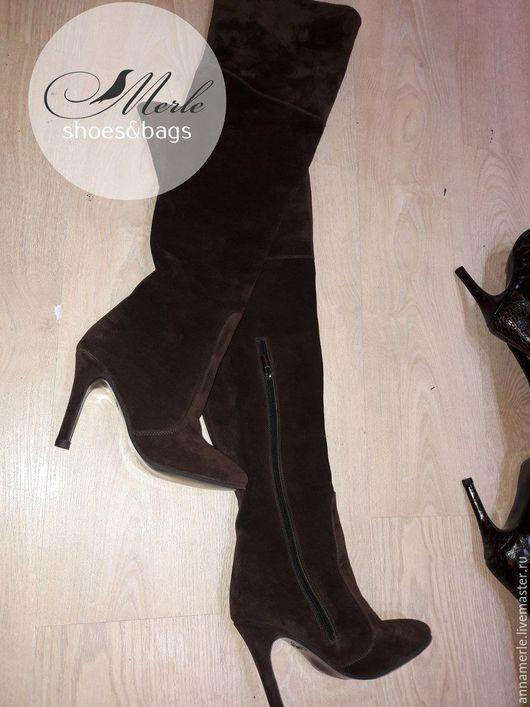 Обувь ручной работы. Ярмарка Мастеров - ручная работа. Купить Замшевые коричневые ботфорты, 9.5 cm. Handmade. Коричневый