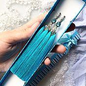 Украшения handmade. Livemaster - original item Blue heaven earrings-brush Krystal Blue. Handmade.