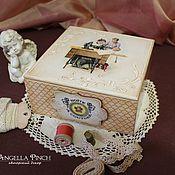 """Для дома и интерьера ручной работы. Ярмарка Мастеров - ручная работа """"Домашний кутюрье"""" - коробка для рукоделия. Декупаж, винтаж. Handmade."""