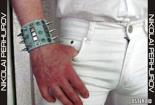 """Украшения для мужчин, ручной работы. Ярмарка Мастеров - ручная работа. Купить БРАСЛЕТ  """"ASTEROID"""". Handmade. Голубой, джинсовый, стильное украшение"""