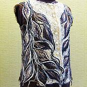Одежда ручной работы. Ярмарка Мастеров - ручная работа Жилет из тонкого мохера и шерсти ШОКОЛАДНЫЕ ЛИСТЬЯ. Handmade.