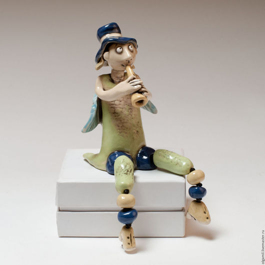 Куклы и игрушки ручной работы. Ярмарка Мастеров - ручная работа. Купить Ангел в шляпе.. Handmade. Салатовый, Керамика, коллекционная кукла