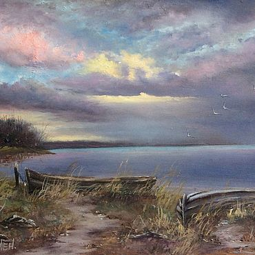 Картины и панно ручной работы. Ярмарка Мастеров - ручная работа Картина маслом,летний пейзаж, «Лодки». Handmade.