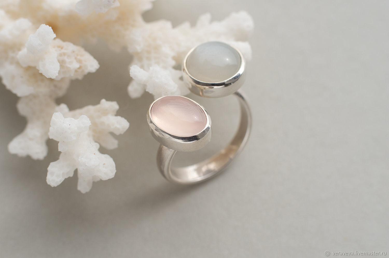 Кольцо двойное с розовым кварцем и лунным камнем, размер 17, Кольца, Санкт-Петербург,  Фото №1
