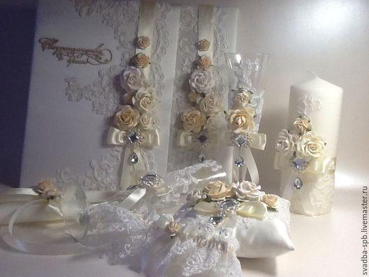 Свадебные аксессуары ручной работы. Ярмарка Мастеров - ручная работа. Купить Набор свадебных аксессуаров. Handmade. Бежевый, подвязка невесты