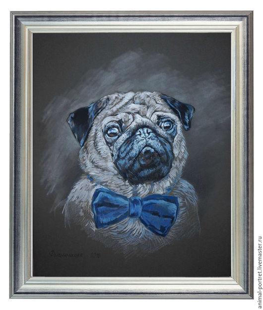 Животные ручной работы. Ярмарка Мастеров - ручная работа. Купить Портрет мопса. Handmade. Комбинированный, мопс, собака, анималистика, питомец