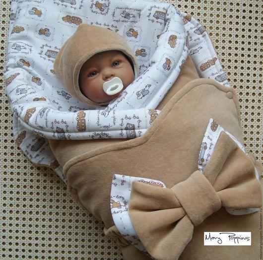 """Для новорожденных, ручной работы. Ярмарка Мастеров - ручная работа. Купить Комплект на выписку """"Машинки"""" для мальчика. Handmade. Бежевый"""
