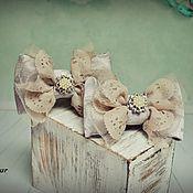 """Работы для детей, ручной работы. Ярмарка Мастеров - ручная работа резиночки-бантики """"Нарядный беж"""". Handmade."""