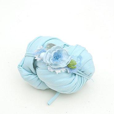Работы для детей, ручной работы. Ярмарка Мастеров - ручная работа Трикотажная обмотка + повязочка для фотосессии новорожденной. Handmade.