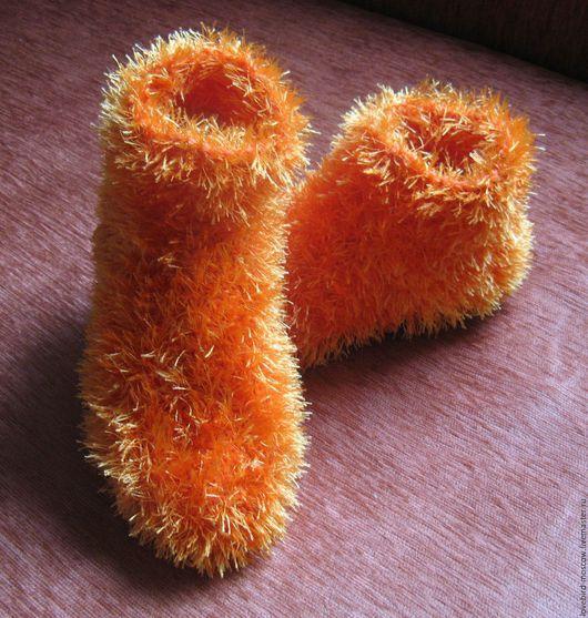 """Обувь ручной работы. Ярмарка Мастеров - ручная работа. Купить Домашние тапочки (носки) """"Мохнатики"""""""". Handmade. Рыжий, тапочки из шерсти"""