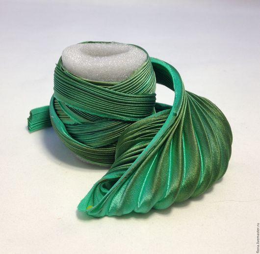 Для украшений ручной работы. Ярмарка Мастеров - ручная работа. Купить Лента Шибори N 137. Handmade. Зеленый, лента