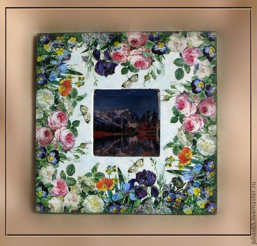 """Зеркала ручной работы. Ярмарка Мастеров - ручная работа. Купить Зеркало """"Разноцветное лето"""". Handmade. Зеркало, цветы, анютины глазки"""