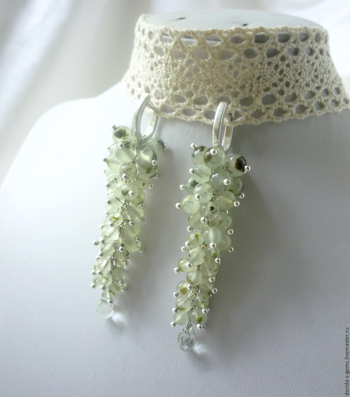 earrings, earrings of prehnite, earrings with amethyst, prehnite earrings, long earrings, earrings bunches, green earrings, earrings with green amethyst, Fair masters