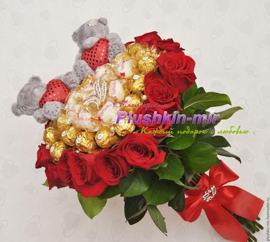 Букет из живых цветов, конфет и Тедди, B00297, 4550руб