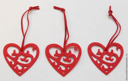 Упаковка ручной работы. Ярмарка Мастеров - ручная работа. Купить Сердечки из фетра. Handmade. Ярко-красный, сердце из фетра