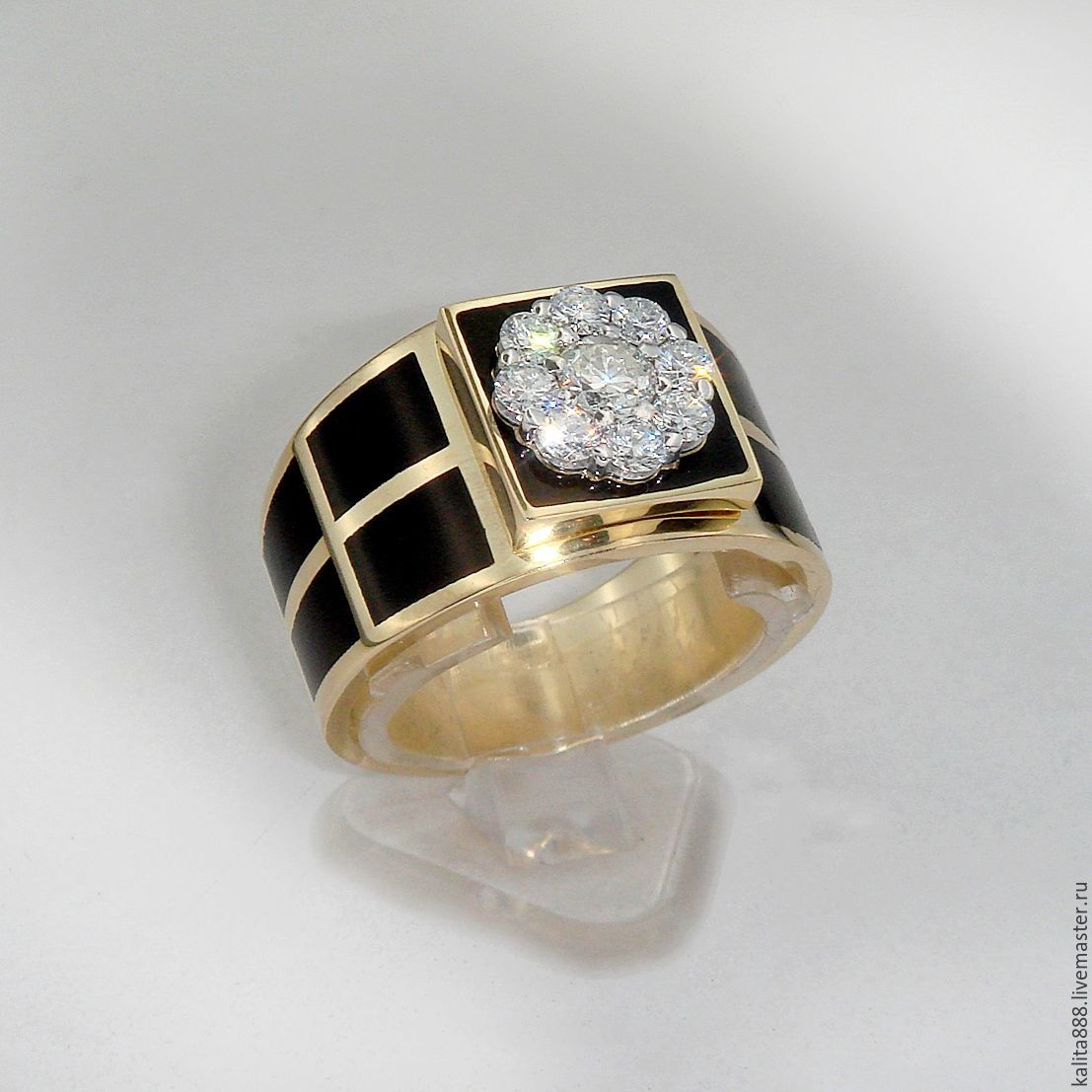 Stylish men's ring with diamonds from 18 K yellow gold, Ring, Moscow,  Фото №1