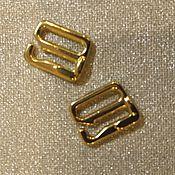 Фурнитура для шитья ручной работы. Ярмарка Мастеров - ручная работа Застежка-крючок для бретелей 10 мм золото. Handmade.