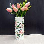 Вазы ручной работы. Ярмарка Мастеров - ручная работа Цилиндрическая ваза «ВЕСНА». Handmade.