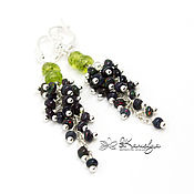 Украшения handmade. Livemaster - original item Earrings-bunches with black opal and chrysolite