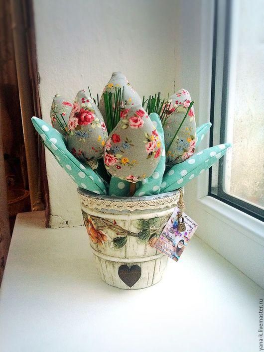 """Интерьерные композиции ручной работы. Ярмарка Мастеров - ручная работа. Купить Текстильные тюльпаны """" Энелли"""". Handmade. Комбинированный"""