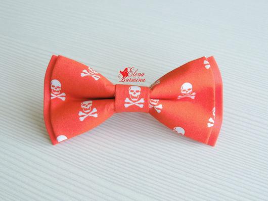 Галстуки, бабочки ручной работы. Ярмарка Мастеров - ручная работа. Купить Бабочка галстук с черепками оранжевая, хлопок. Handmade. Рыжий