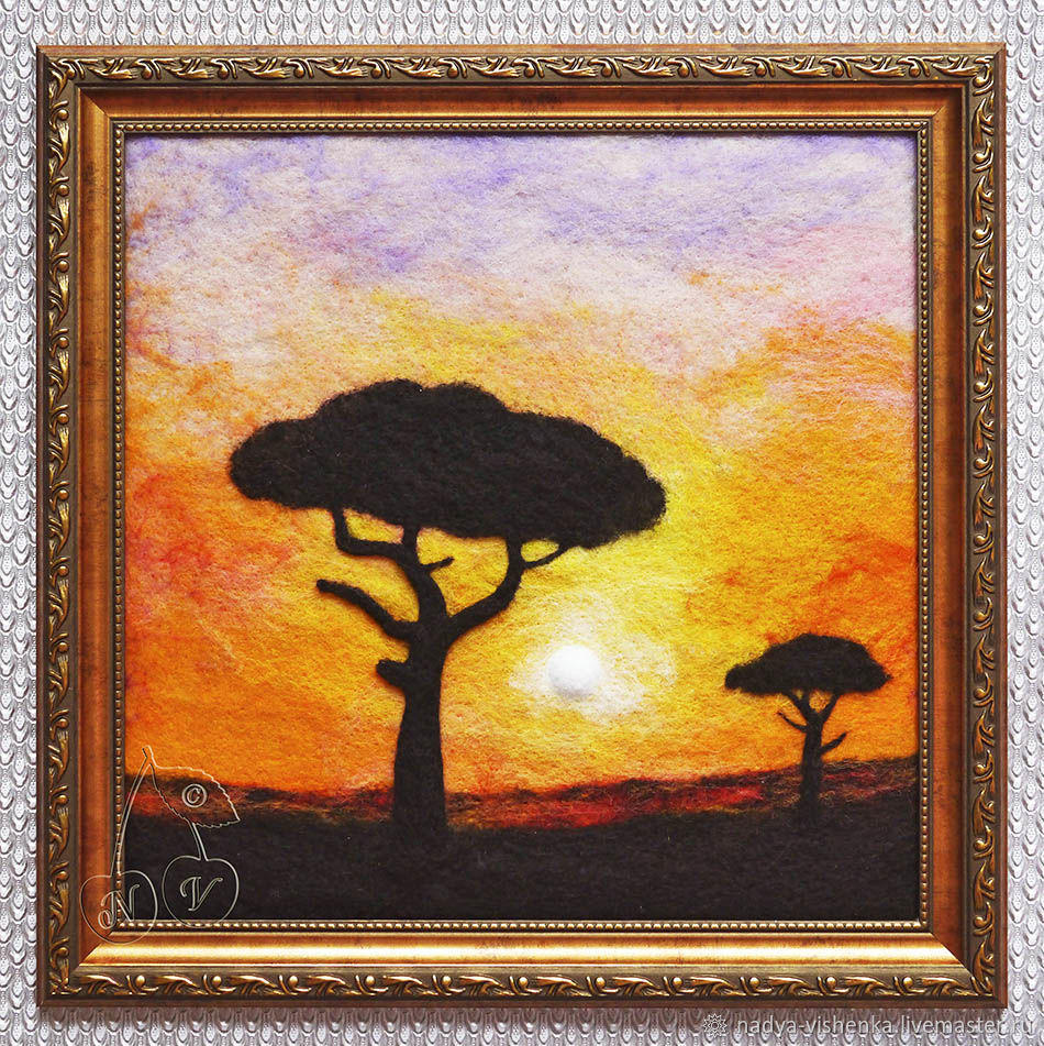 "Картина из шерсти ""Африка. Закат"", Картины, Москва, Фото №1"