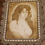 Картины и панно handmade. Livemaster - original item Portrait of a Gypsy bringing happiness .wood-jute laser. Handmade.