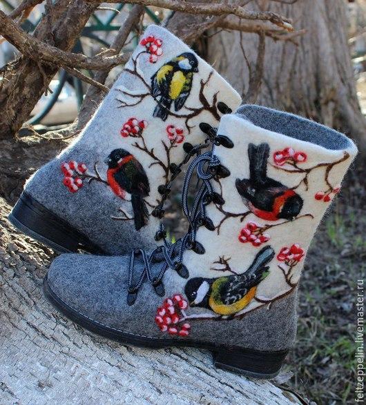 Обувь ручной работы. Ярмарка Мастеров - ручная работа. Купить Валяные ботинки Птицы.. Handmade. Молочный цвет, бохостиль, экостиль