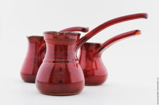 Чайники, кофейники ручной работы. Ярмарка Мастеров - ручная работа. Купить Турка для кофе. Handmade. Ярко-красный, глазурь