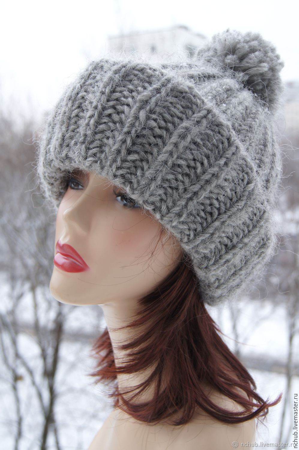 d777a551f14 Order Warm Grey knitted oversized hat made of Icelandic wool with pompon.