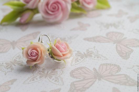 Серьги ручной работы. Ярмарка Мастеров - ручная работа. Купить Летние сережки розочки. Handmade. Комбинированный, серьги розы
