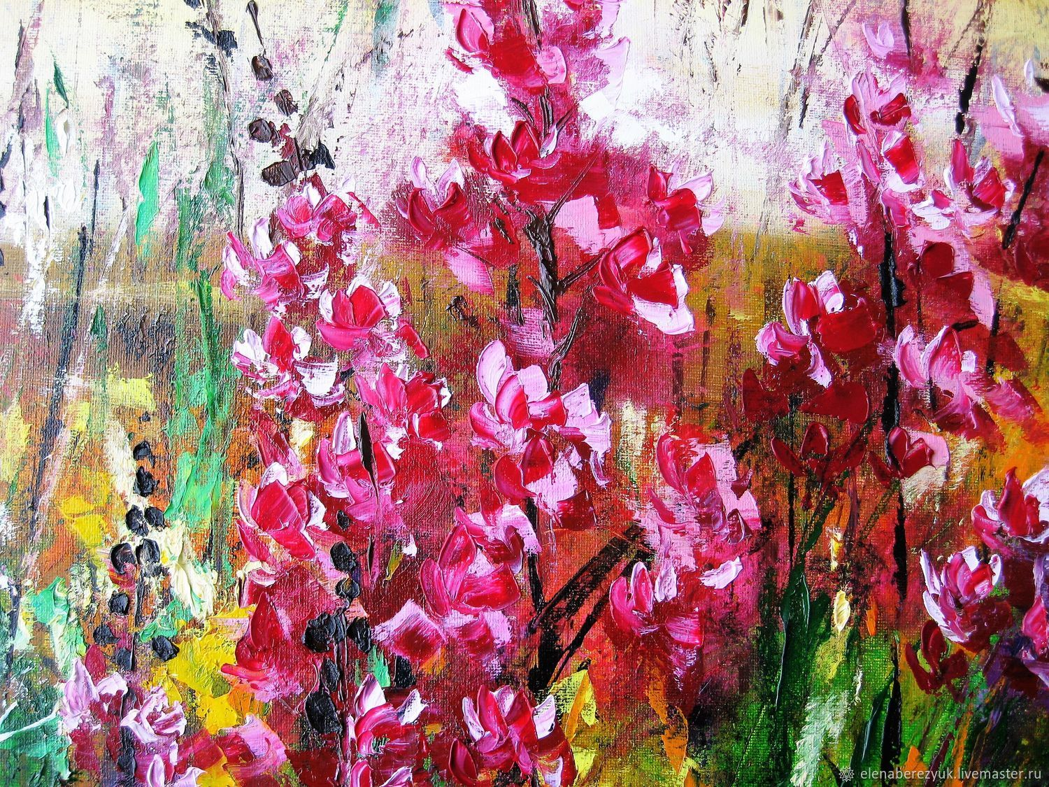 Pink flowers oil painting on canvas summer landscape with flowers pink flowers oil painting on canvas summer landscape with flowers elenaberezyukart mightylinksfo