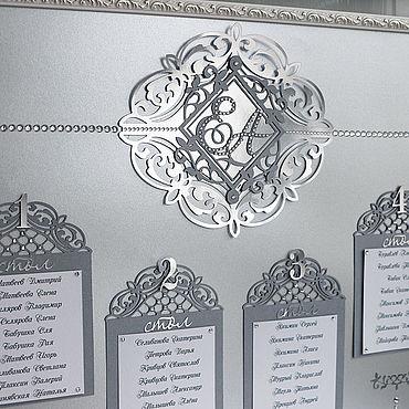 """Свадебный салон ручной работы. Ярмарка Мастеров - ручная работа """"Серебро"""" план рассадки. Handmade."""