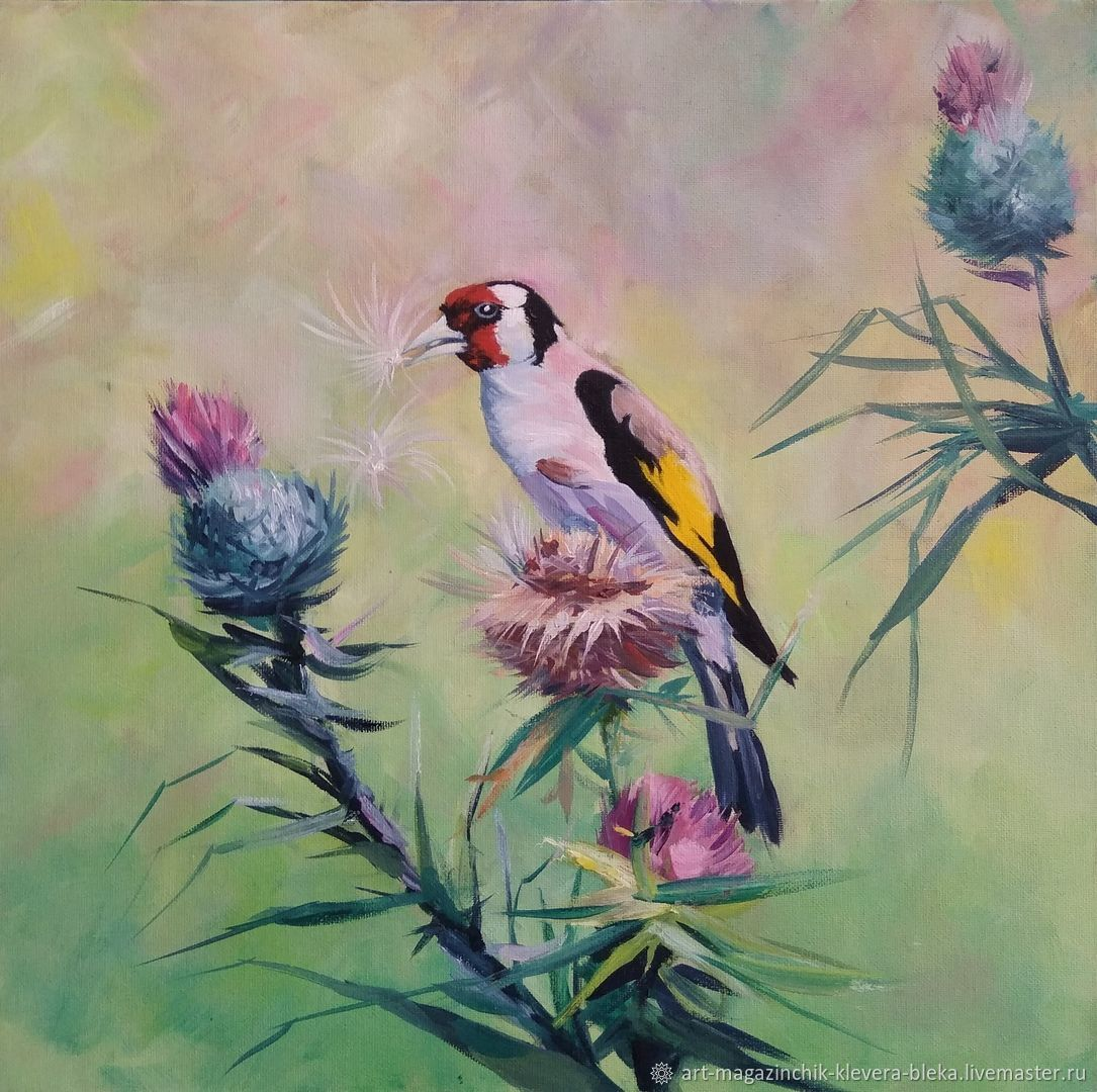 Oil painting Bird Goldfinch and flowers, Pictures, Obninsk,  Фото №1