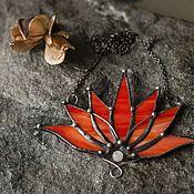 Украшения handmade. Livemaster - original item Red opaque Lotus (p-020-12). Handmade.