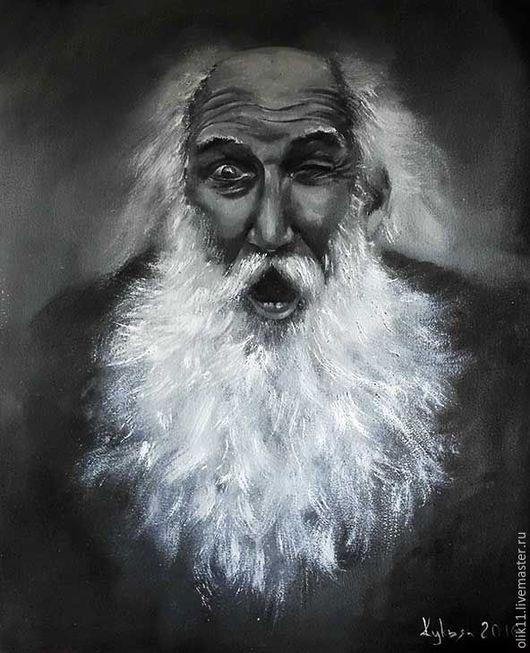 Люди, ручной работы. Ярмарка Мастеров - ручная работа. Купить Портрет веселого дедушки.. Handmade. Чёрно-белый, портрет, дедушка