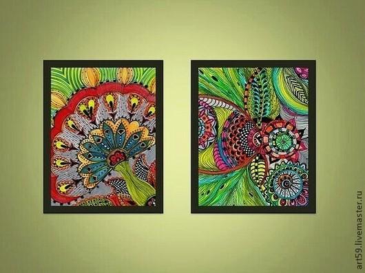 """Абстракция ручной работы. Ярмарка Мастеров - ручная работа. Купить Диптих """" Цветочная абстракция """". Handmade. Разноцветный"""