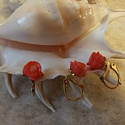 Комплекты украшений ручной работы. Ярмарка Мастеров - ручная работа Коралловые розы  в позолоте ( 925 пр) 14 Кт ( 585). Handmade.